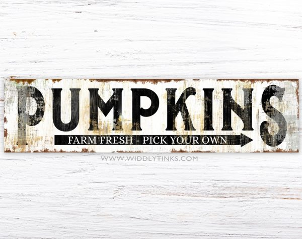 rustic farmhouse pumpkins sign black simple