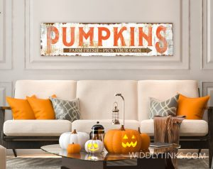 rustic farmhouse pumpkins sign orange room