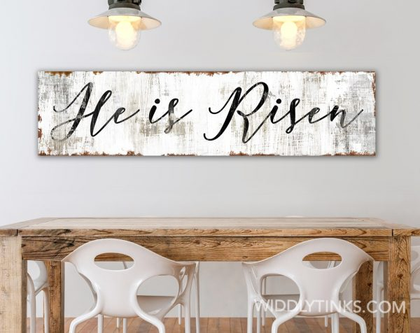 rustic he is risen easter sign room