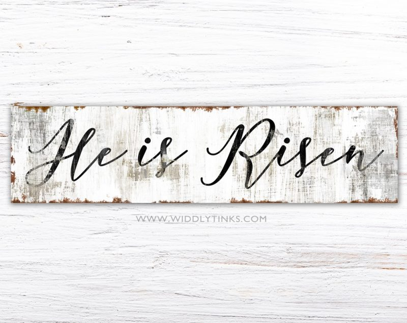 rustic he is risen easter sign simple