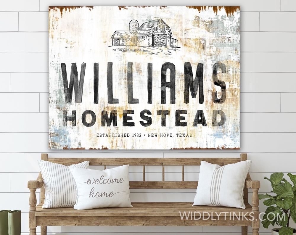 rustic homestead barn sign with family name