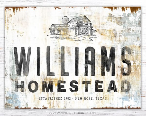 rustic homestead barn sign family name simple