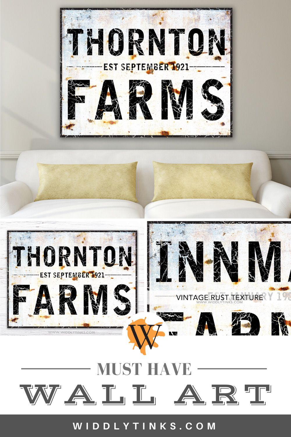 rustic industrial established family farm sign
