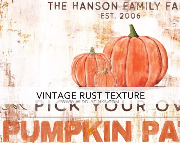 rustic industrial pumpkin patch sign closeup