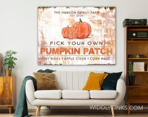 rustic industrial pumpkin patch sign room