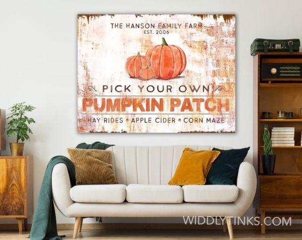 rustic industrial pumpkin patch sign room