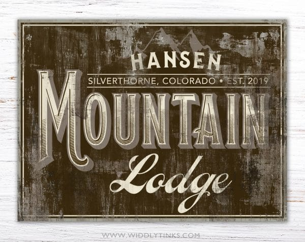 rustic mountain lodge cabin family sign brown simple