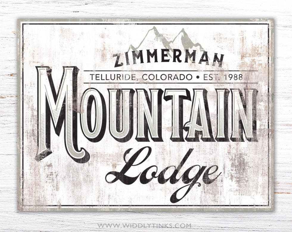 rustic mountain lodge cabin family sign white simple