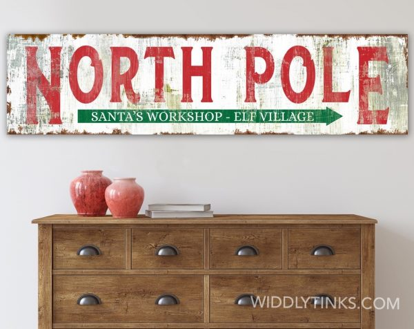rustic north pole christmas sign room