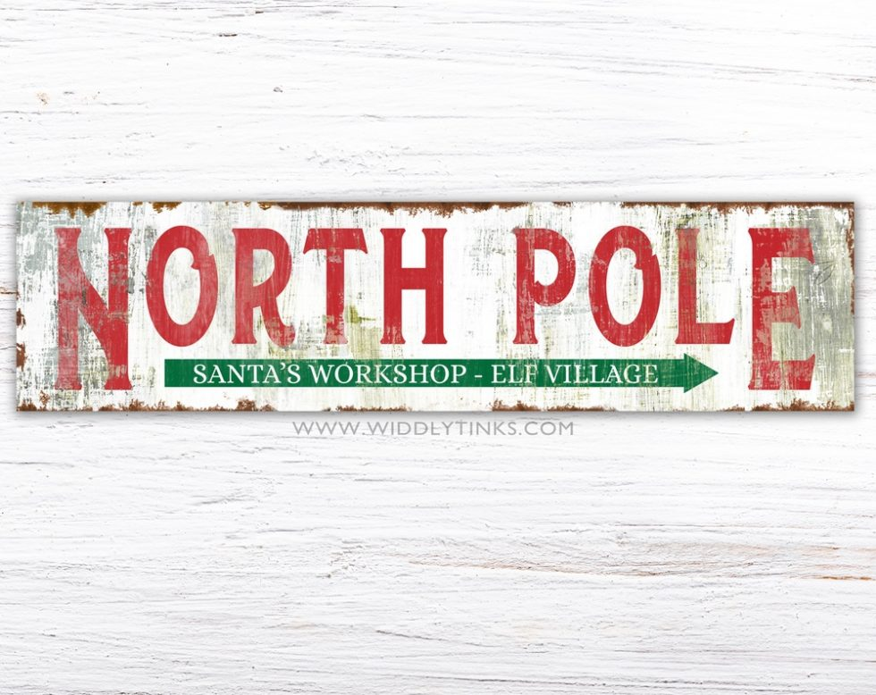rustic north pole christmas sign simple