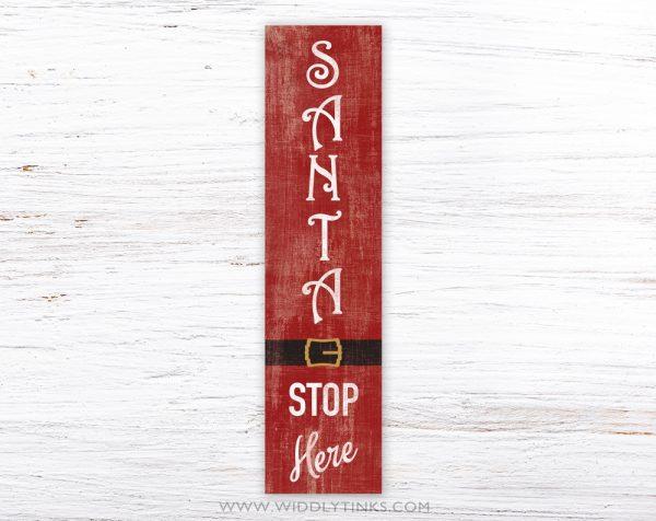 rustic santa stop here christmas sign simple