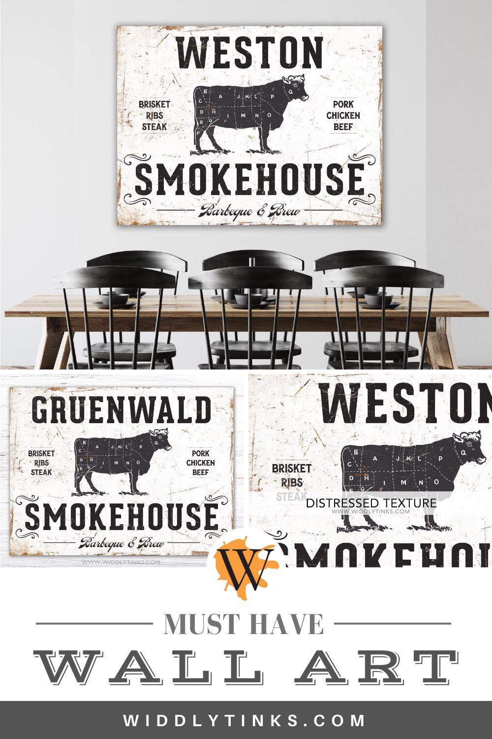 rustic smokehouse bbq family sign