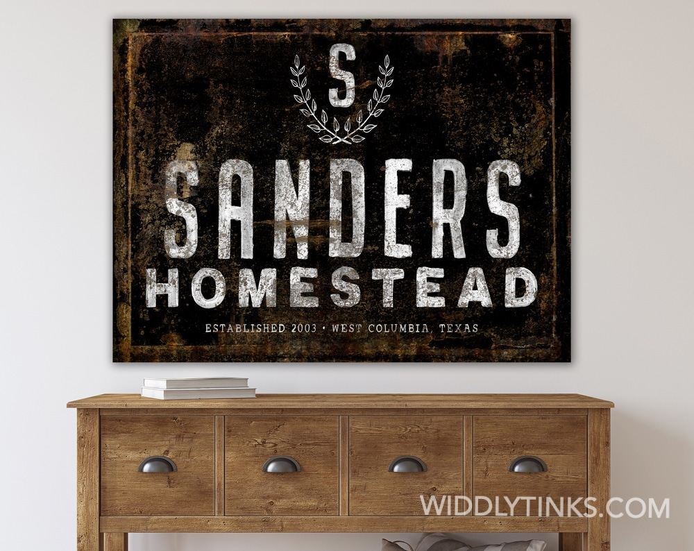 Industrial Farmhouse Personalized Family Homestead Sign in Black