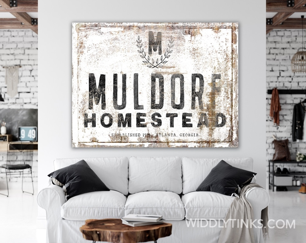 Industrial Farmhouse Personalized Family Homestead Sign