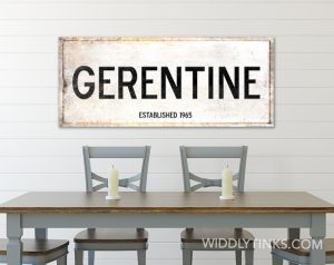 Rustic Modern Farmhouse Rusty Personalized Family Name Year Established Sign White