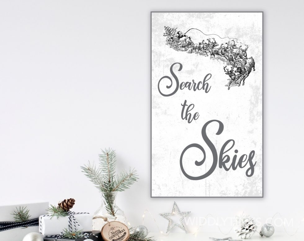 search the skies nostalgic christmas sign room