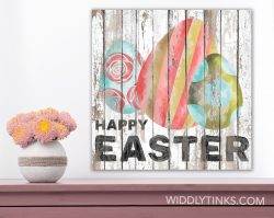 shabby happy easter sign with eggs room