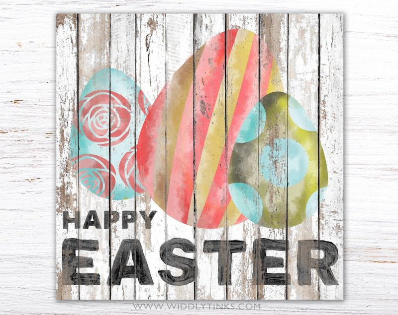 shabby happy easter sign with eggs simple