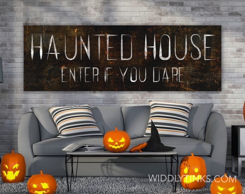 spooky halloween haunted house sign room