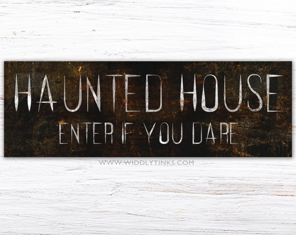 spooky halloween haunted house sign simple