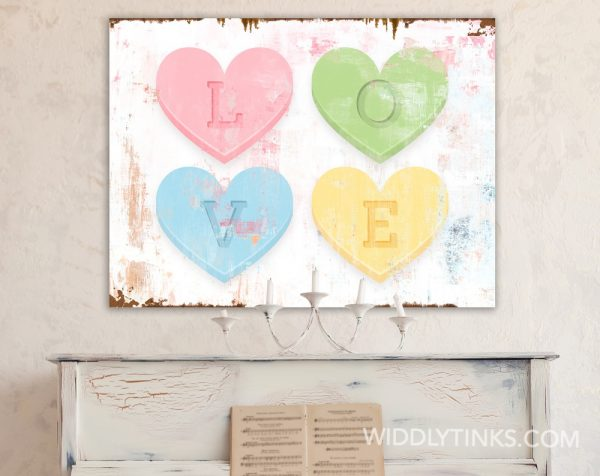 valentines day pastel hearts love square room