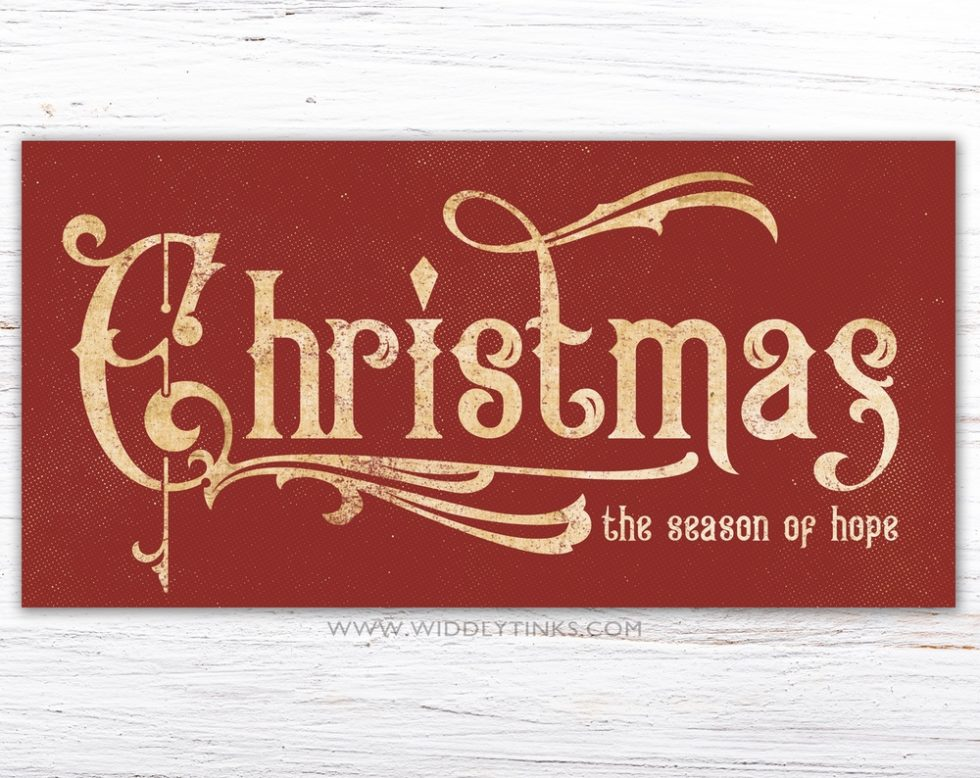 victorian vintage farmhouse christmas hope sign red simple