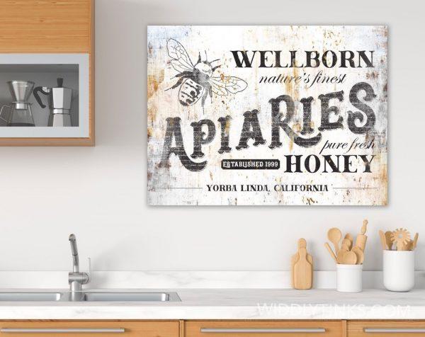 vintage farmhouse apiaries honey bee farm sign room2