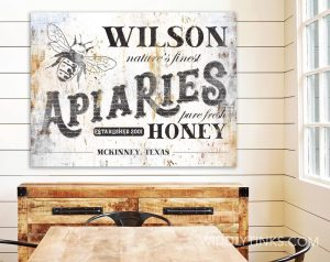vintage farmhouse apiaries honey bee farm sign room3