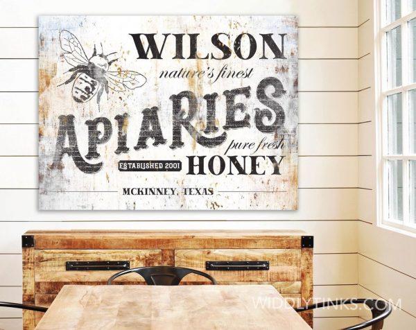 vintage farmhouse apiaries honey bee farm sign room3