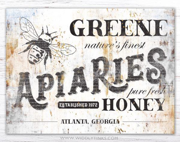 vintage farmhouse apiaries honey bee farm sign simple