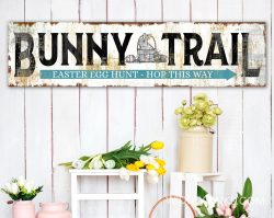 vintage farmhouse bunny trail easter sign