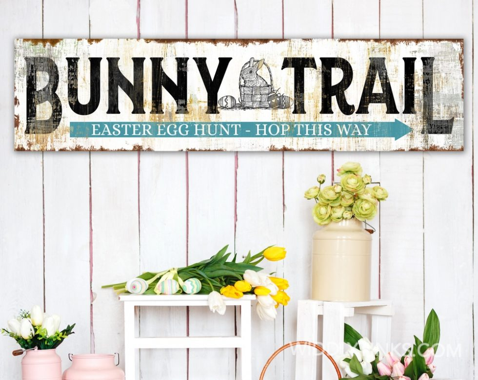 vintage farmhouse bunny trail easter sign