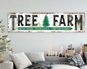 vintage farmhouse christmas tree farm sign room