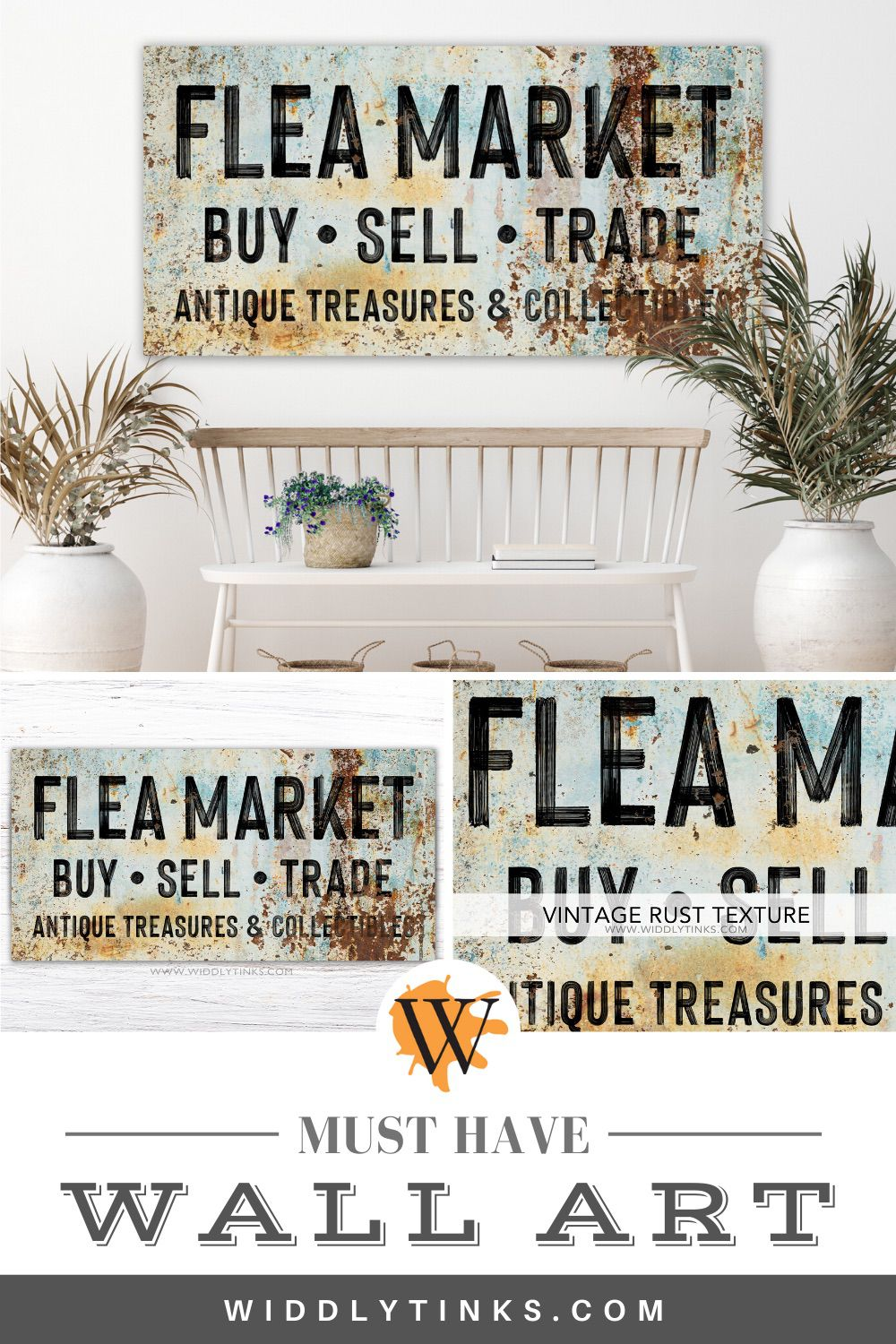 vintage farmhouse flea market sign