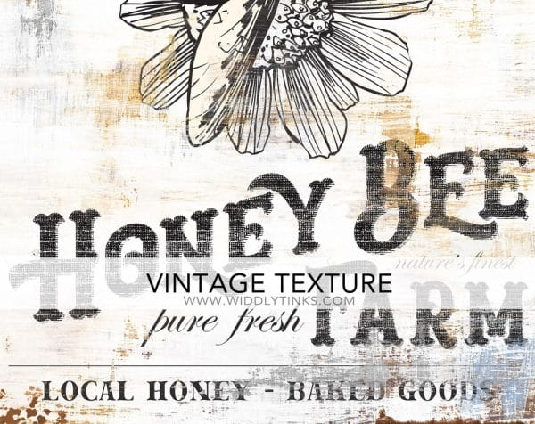 vintage farmhouse honey bee farm sign closeup