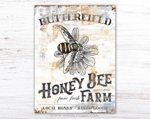 vintage farmhouse honey bee farm sign simple