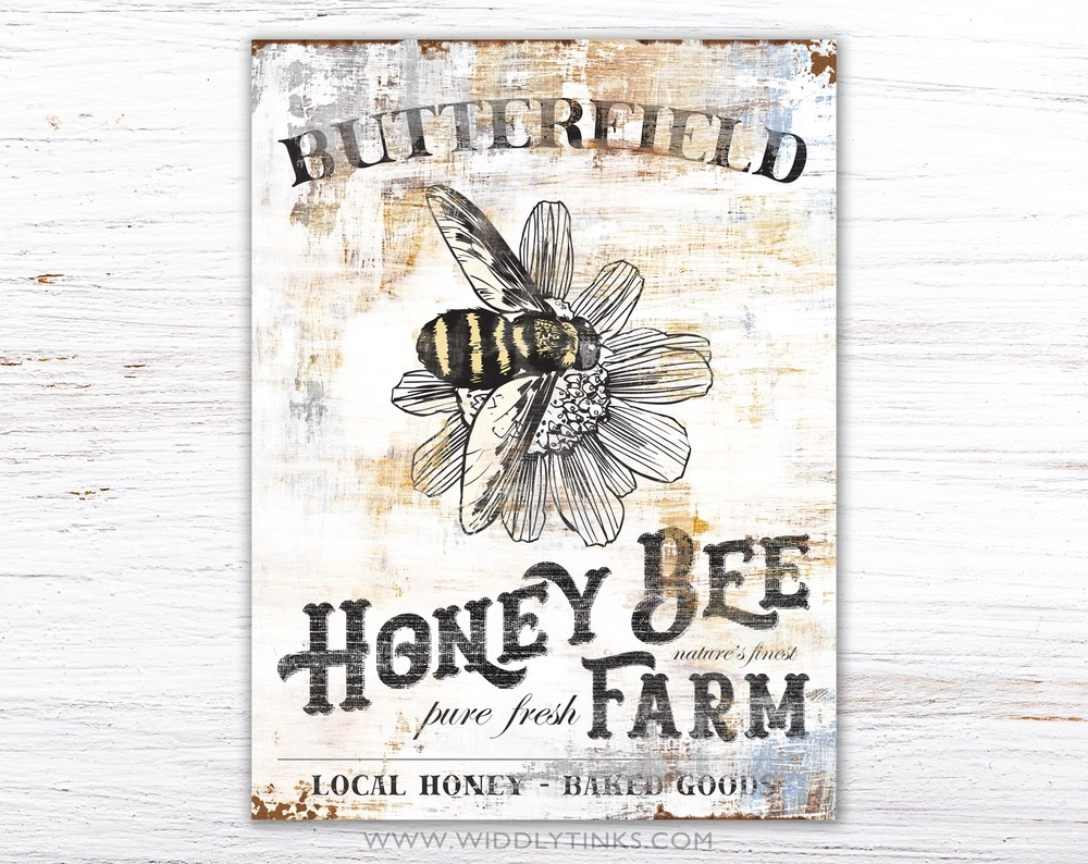 vintage farmhouse honey bee farm sign simple