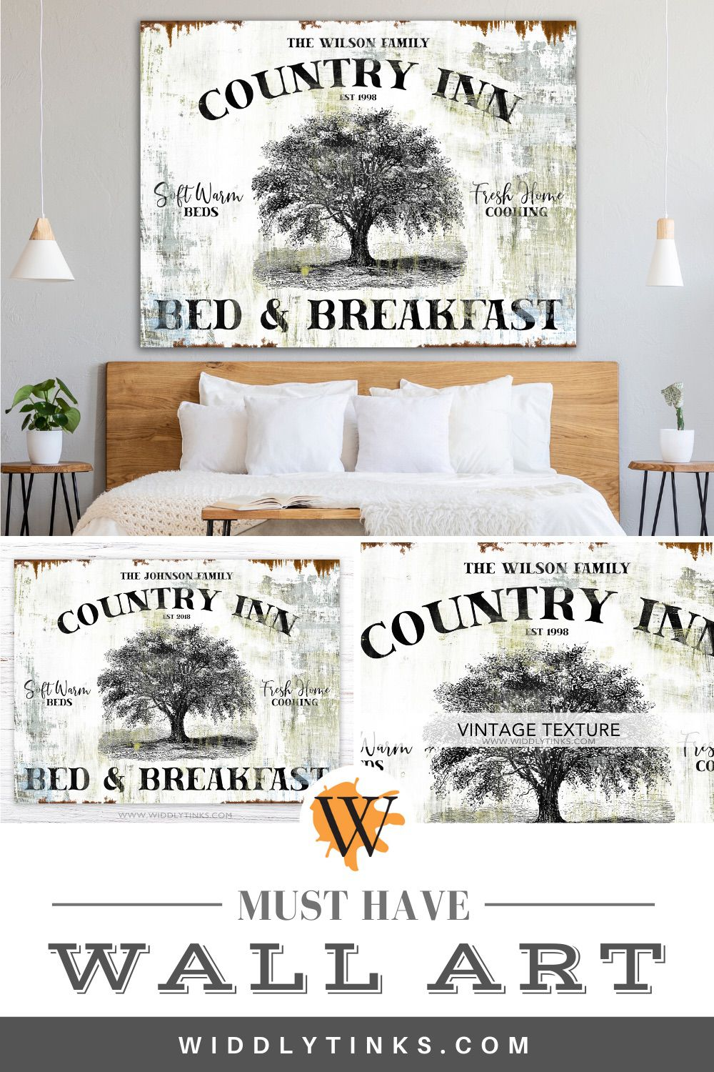 vintage farmhouse personalized bed breakfast sign
