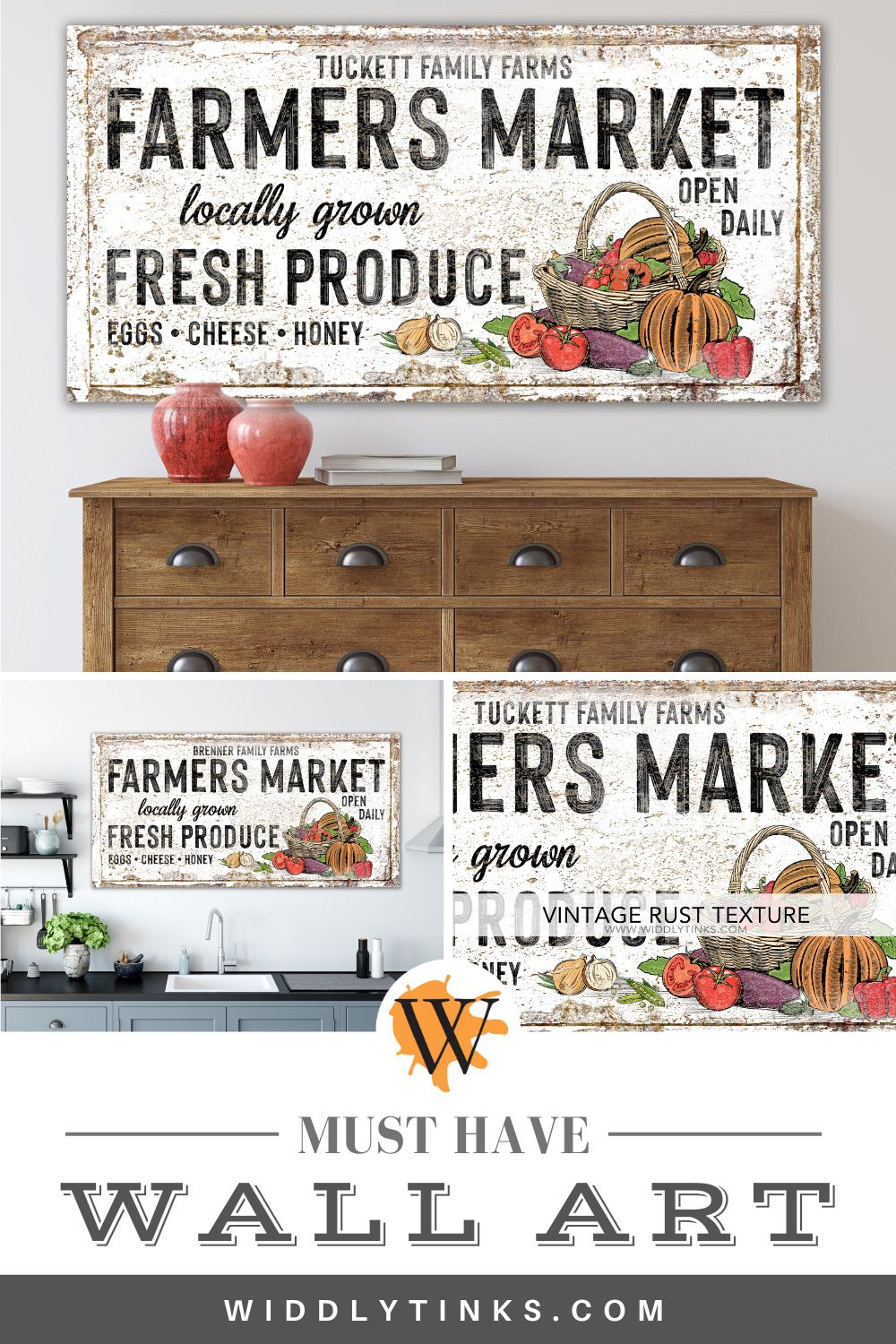 vintage farmhouse personalized farmers market sign