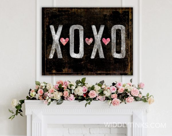 vintage farmhouse rusty xoxo hugs kisses black room