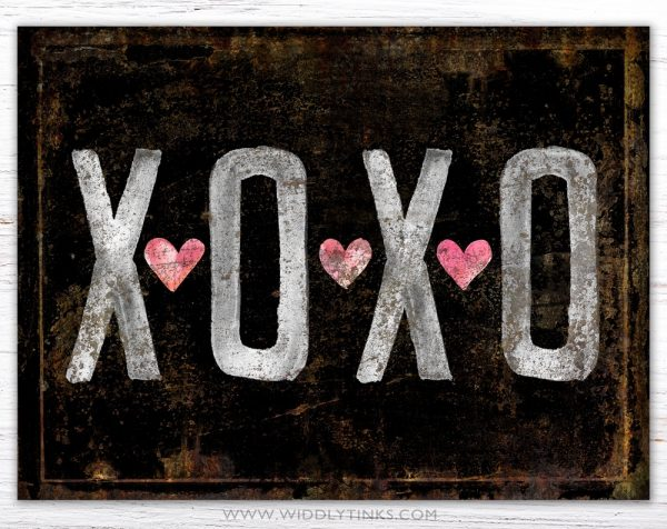 vintage farmhouse rusty xoxo hugs kisses black