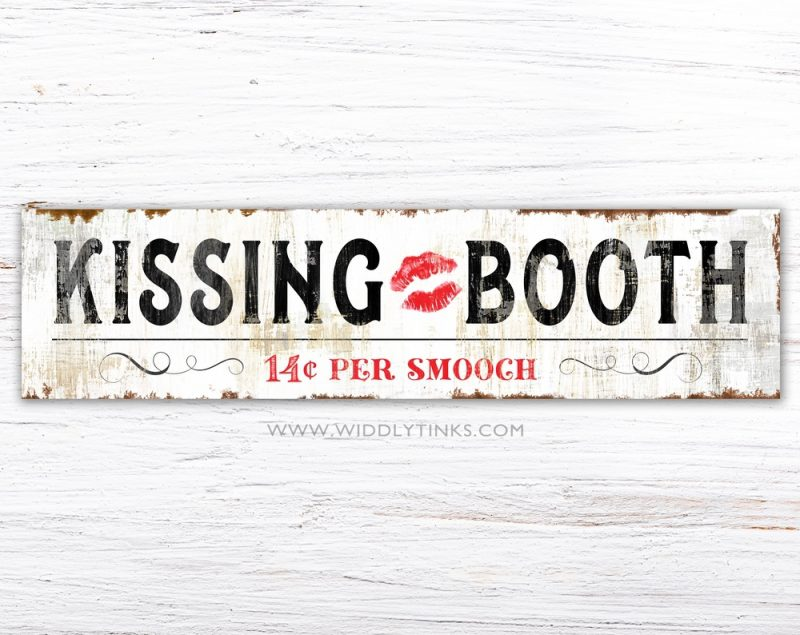 vintage farmhouse valentines day kissing booth