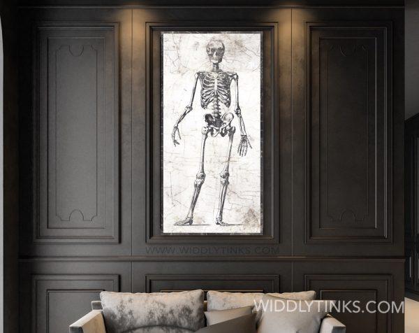 vintage halloween anatomical skeleton sign room
