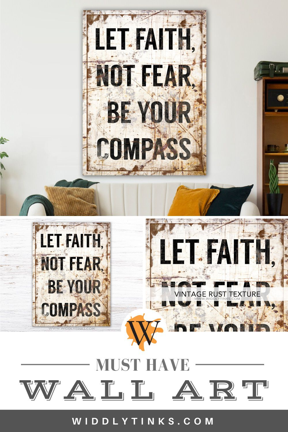 vintage industrial faith quote sign