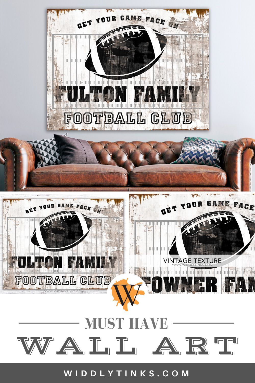 vintage industrial football club family sign