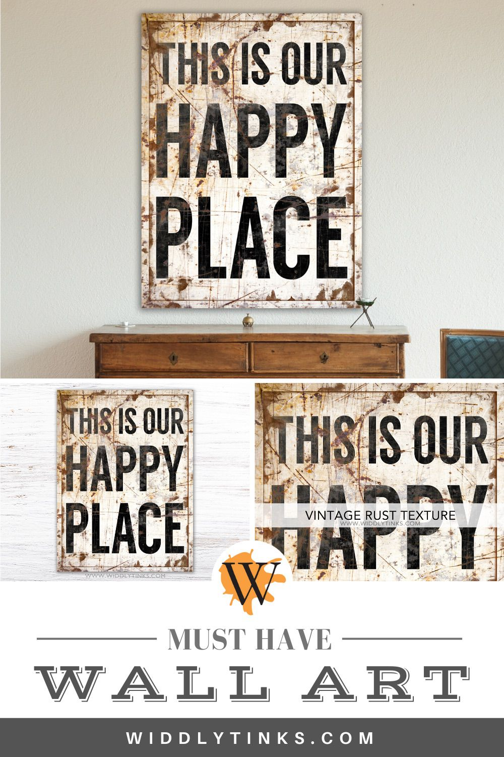 vintage industrial happy place sign