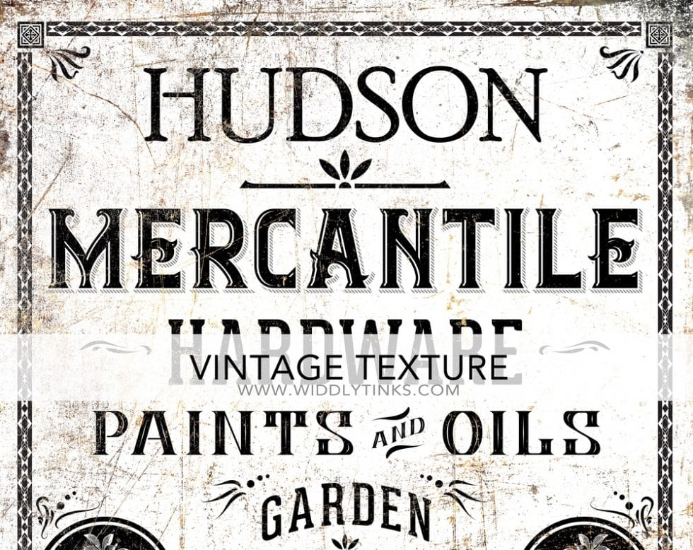 vintage industrial personalized mercantile sign white closeup