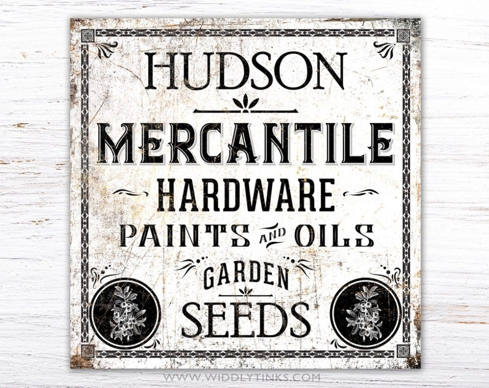 vintage industrial personalized mercantile sign white simple