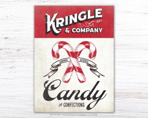 vintage kris kringle candy canes sign simple