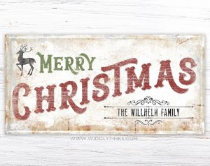vintage merry christmas family name sign simple